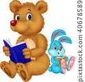 Cartoon bear and rabbit reading book 40678589