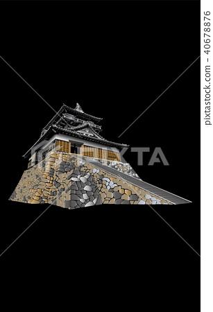 日本城堡现存Tenmori Maruoka城堡黑背 40678876