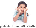 Asian boy sad lying on floor white background 40679602