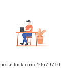 the man working on desk illustration vector 40679710