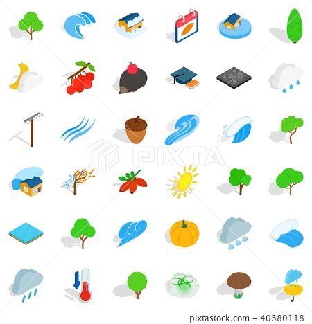 Earthly icons set, isometric style 40680118
