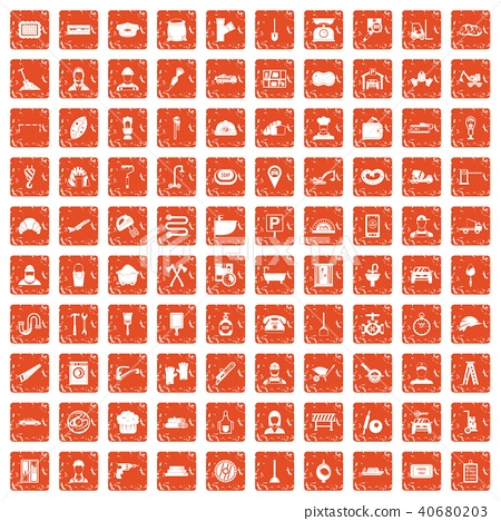 100 working professions icons set grunge orange 40680203