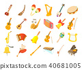 Musical instrument icon set, cartoon style 40681005