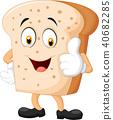 Cartoon slice of bread giving thumbs up 40682285