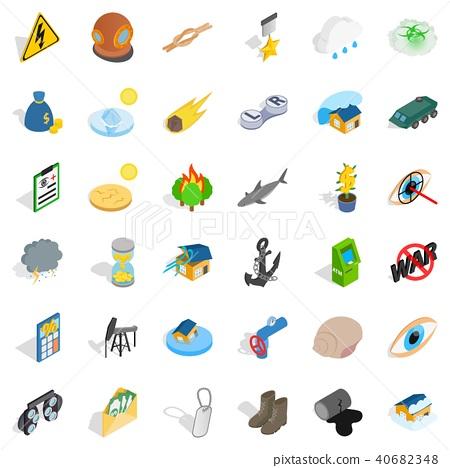Destroy nature icons set, isometric style 40682348