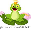 Happy cartoon king frog 40682441