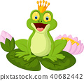 Happy cartoon king frog 40682442