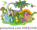 Cartoon group of dinosaur  40682448