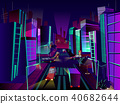 Night city vector cartoon illustration 40682644