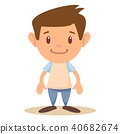 Cartoon cute boy stands in a confident pose. Colorful vector illustration. 40682674