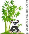 Cartoon panda sitting and eating bamboo 40682879