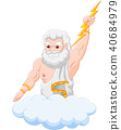 Cartoon zeus holding thunderbolt 40684979