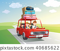 Family road trip. travel by car with kids. Vector, 40685622