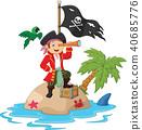 Cartoon captain holding binoculars. illustration 40685776
