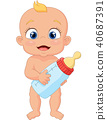 Cartoon baby holding bottle  40687391