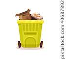 Plastic container with cardboard waste. Flat vector element for poster about popularization of 40687892