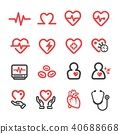 heart medical line icon 40688668