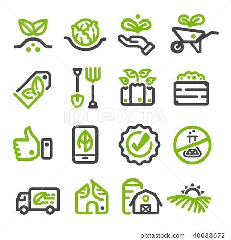organic farm,organic vegetable line icon 40688672