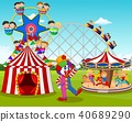 Cartoon little kid  and clown in the carnival fest 40689290