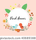 Design of floral banner with birds and leaf flower 40689388