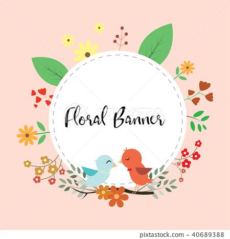 Design of floral banner with birds and leaf flower 40689388