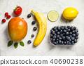 Flat-lay of organic fruits 40690238