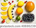 Flat-lay of organic fruits 40690239