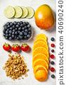 Flat-lay of organic fruits 40690240