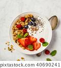 Bowl of homemade granola with yogurt and fresh berries 40690241