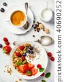Healthy breakfast with coffee, yogurt, granola and berries 40690252