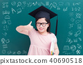 cute girl with green chalkboard 40690518