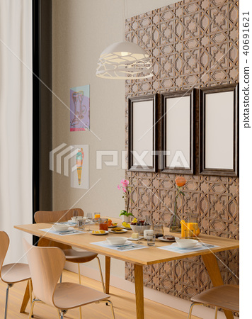 Mock up frame in dining room interior. 40691621