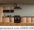 Kitchen room interior. 3D Rendering. 40695168