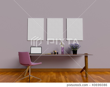 Mock up poster of workspace 40696086