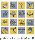 Aerospace and defense, military aircraft icon set 40697680