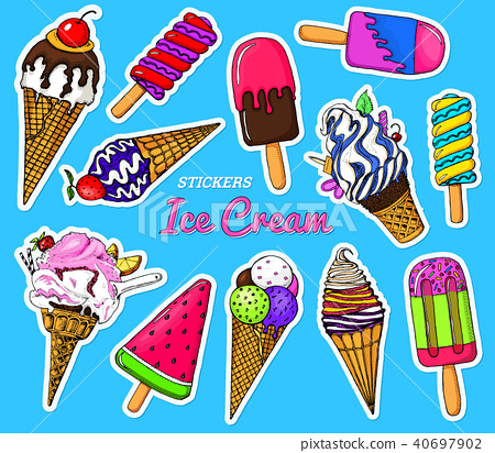 Realistic Sweet ice cream with caramel and waffle cone, chocolate and lollipops and strawberry 40697902