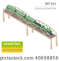 3d isometric retro railway with steam locomotive 40698856