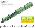 3d isometric retro railway with steam locomotive 40698859