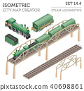 3d isometric retro railway with steam locomotive 40698861