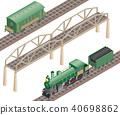 3d isometric retro railway with steam locomotive 40698862