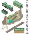3d isometric retro railway with steam locomotive 40698863