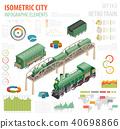 3d isometric retro railway with steam locomotive 40698866
