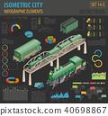 3d isometric retro railway with steam locomotive 40698867