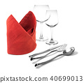 fork and knife on red napkin and wine glasses  40699013