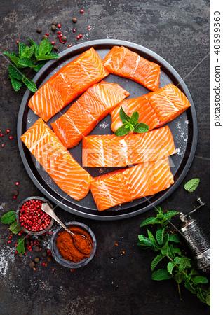 Salmon. Fresh salmon fish. Raw salmon fish fillet 40699360
