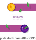 Fresh plum fruit background in paper art style 40699995
