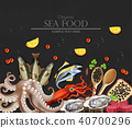 Tuna fish, caviar, squid, oysters and octopus 40700296