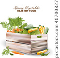 Healthy spring vegetables in a wooden box 40700827