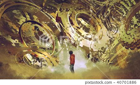 boy looking at broken golden gears 40701886
