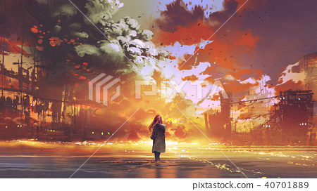 woman looking at the burning city 40701889